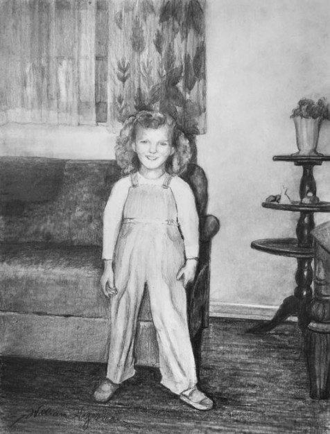 pencil drawing of a little girl standing by artist William Hagerman a commissioned artwork for a wedding anniversary gift