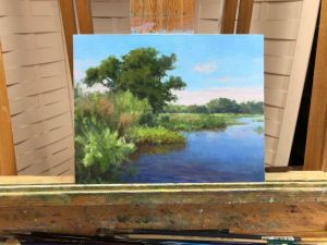 oil landscape painting demo block in stage by William Hagerman