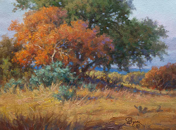 Texas Autumn landscape with oaks by Byron