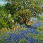 Texas bluebonnet oil painting with yucca by William Hagerman