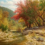 realistic landscape oil painting Texas hill country autumn red tree stream with waterfall by William Hagerman
