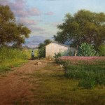 realistic landscape oil painting oak trees, old house by William Hagerman