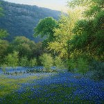 realistic landscape bluebonnet oil painting by William Hagerman
