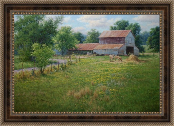 realistic landscape oil painting by William Hagerman featuring old barn and donkeys