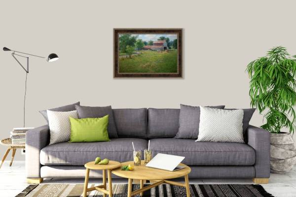 realistic landscape oil painting by William Hagerman artwork on living room wall