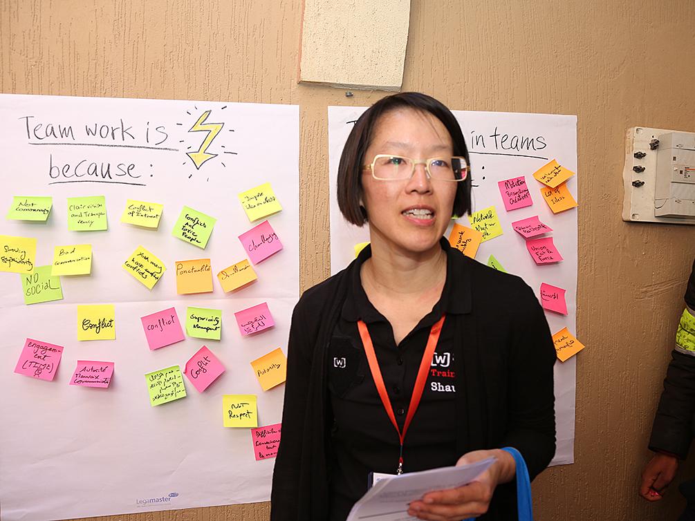 Shau Chung Shin steht vor zwei Flipcharts voll mit Post-its mit Beiträgen von den Teilnehmern