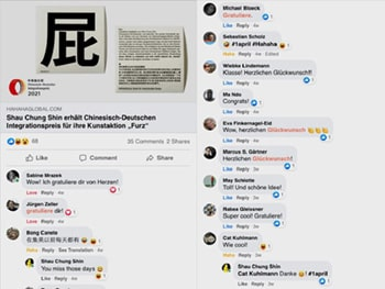 Screenshot der Glückwünsche und Kommentare auf Facebook unter dem Post meines Artikels.