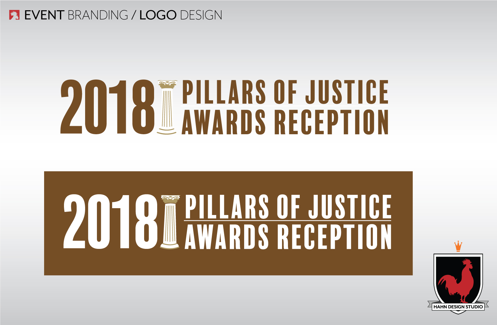 Event Branding Logo Design for 2018 Pillars of Justice Awards Reception for Chicago Appleseed Fund for Justice