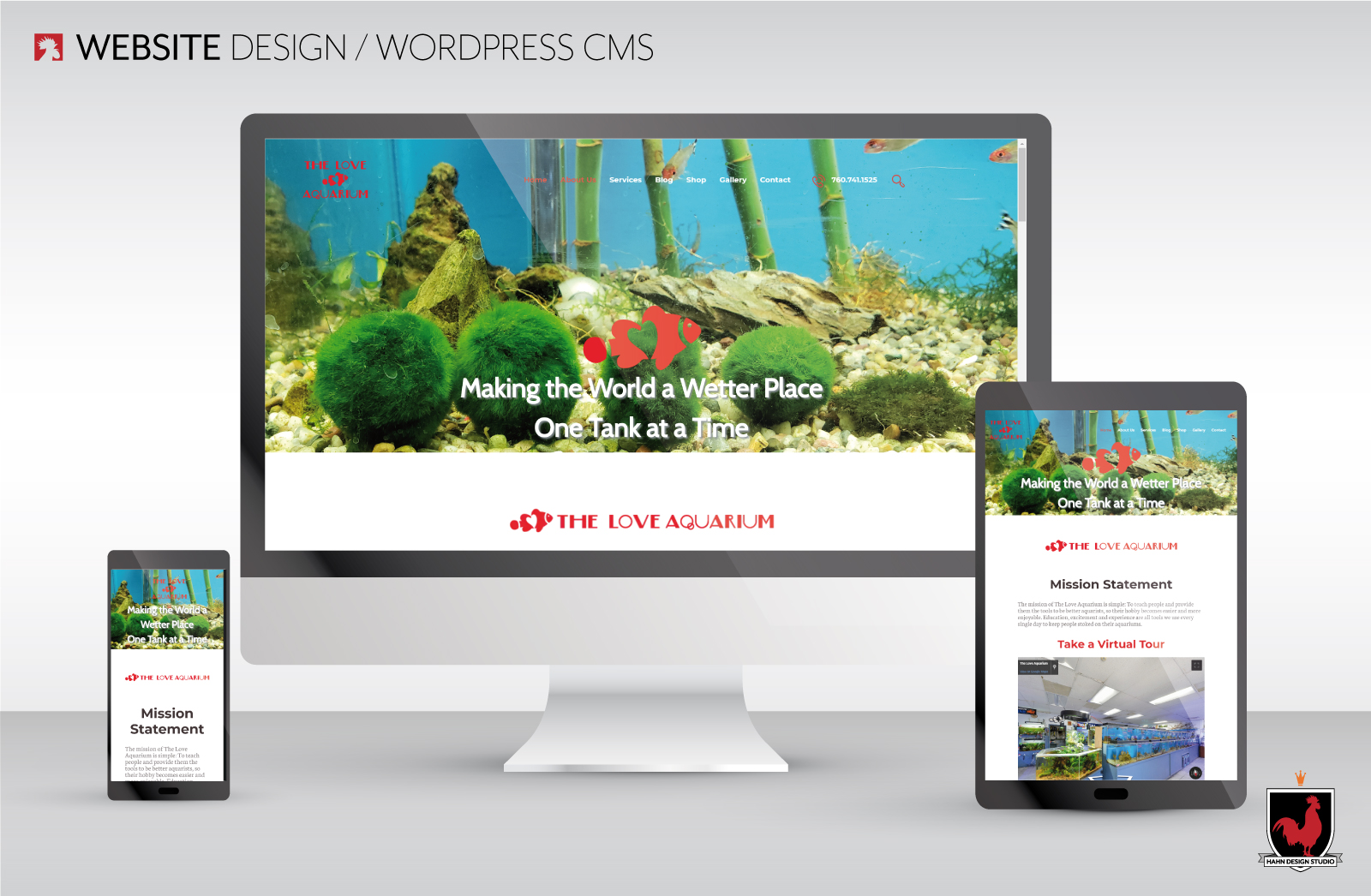 Website Design for The Love Aquarium designed by Hahn Design Studio, San Marcos, CA