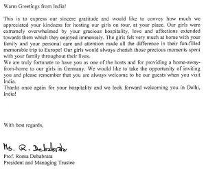 Brief aus Indien