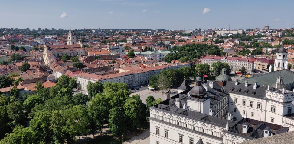 Blick von oben auf Vilnius