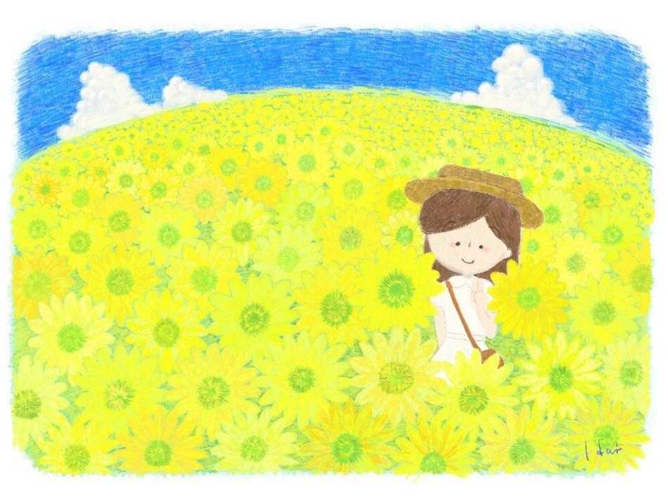 イラスト ひまわり畑