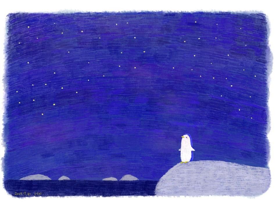 イラスト ペンギン 夜空