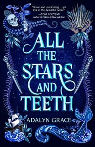 All the Stars and Teeth Cover, blue with a border of bones, ships, and mermaid tails