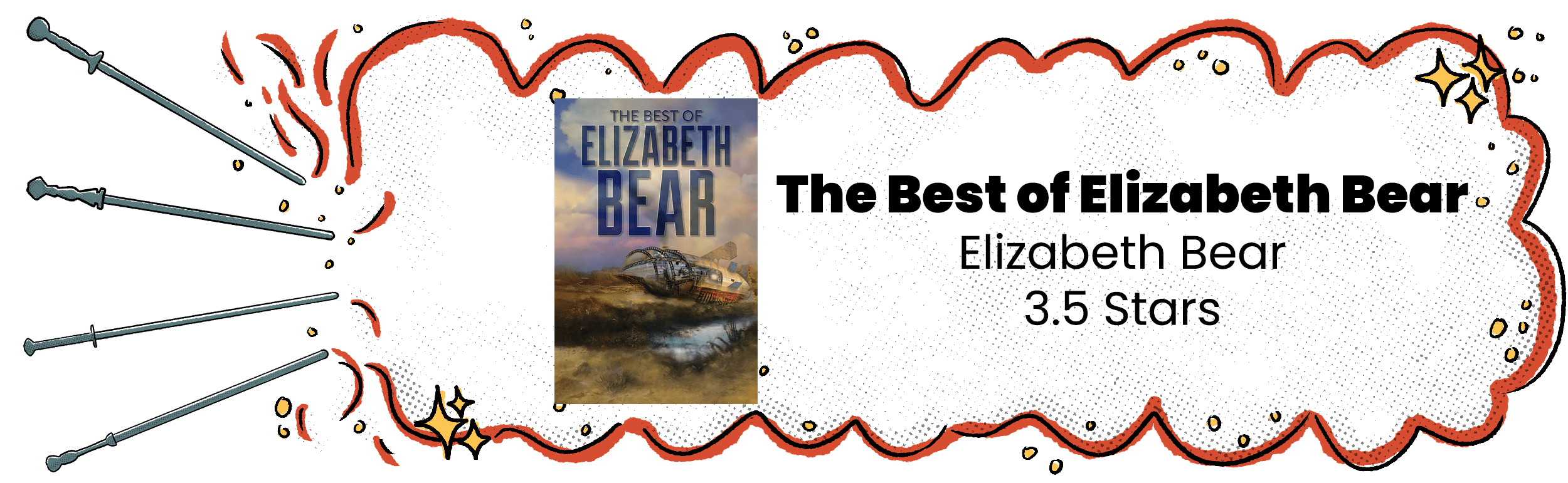 Review banner with The Best of Elizabeth Bear cover and 3.5 star rating