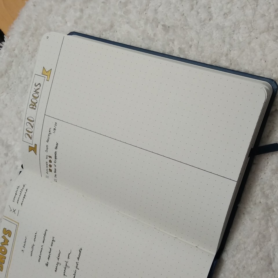 double column bullet journal book log on dot grid paper