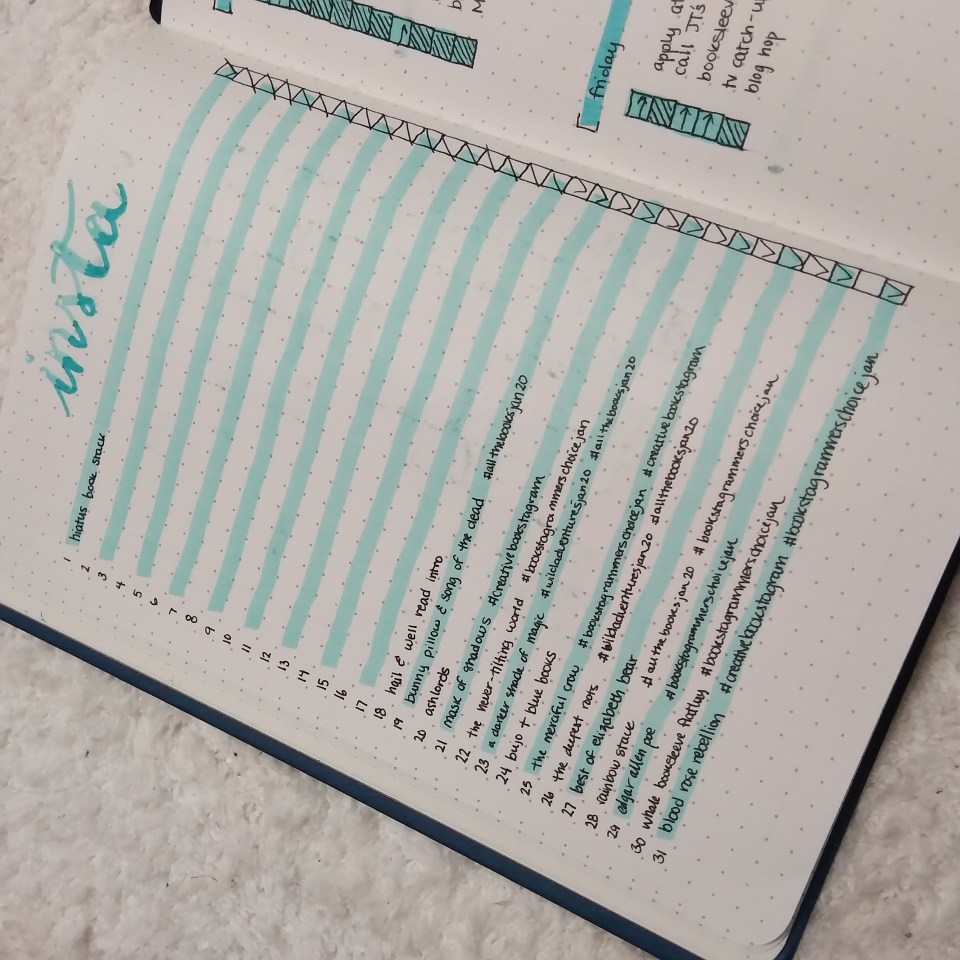 bullet journal list of instagram photos, with alternating blue and white lines on dot grid paper