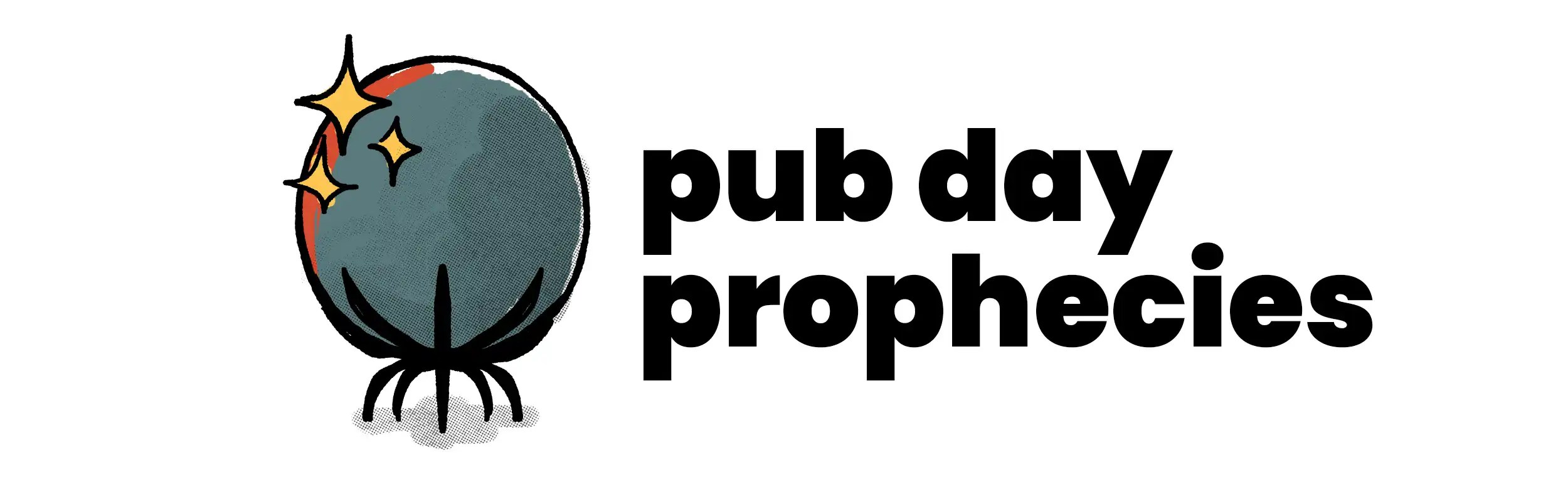 Pub Day Prophecies banner, depicting a blue crystal ball with yellow sparkles