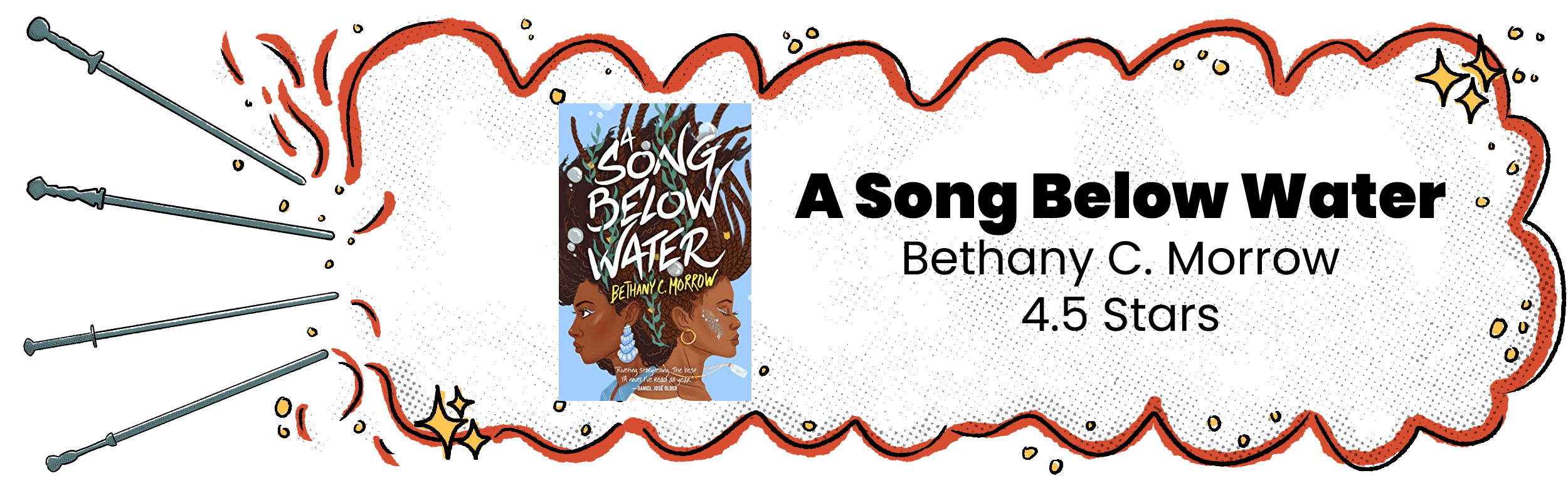 A Song Below Water Review Banner With 4.5 Star Rating