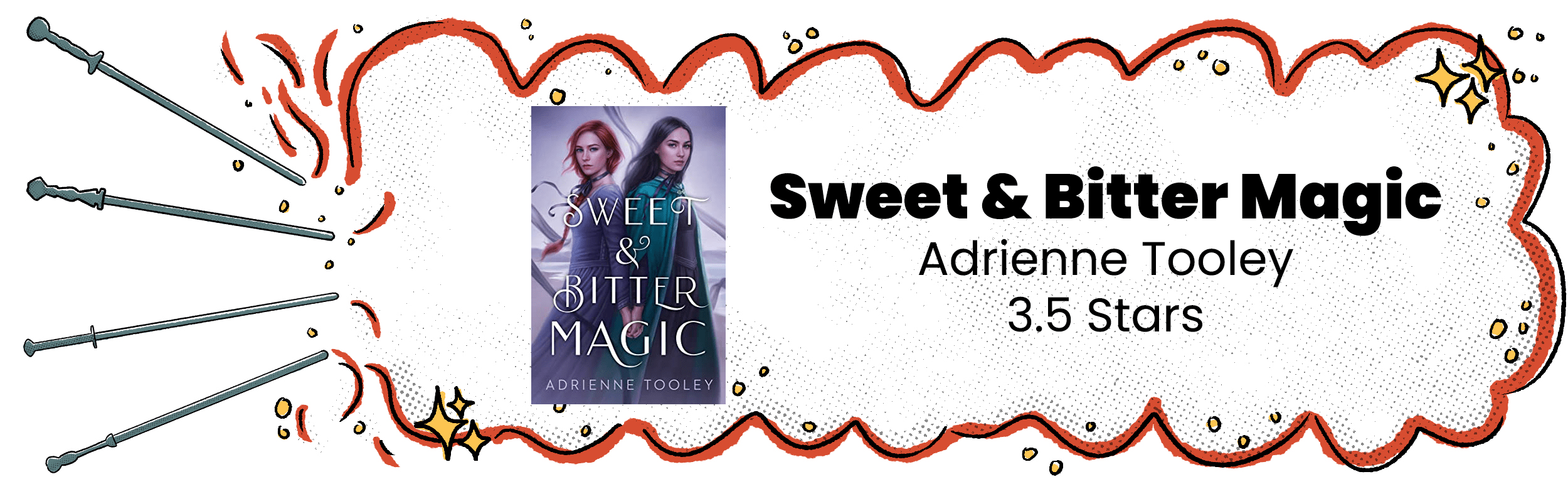 Sweet & Bitter Magic Review Banner with 3.5 Star Rating