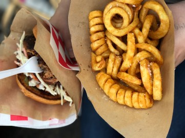 My barbecue sandwich and curly fries at Copenhagen Street Food