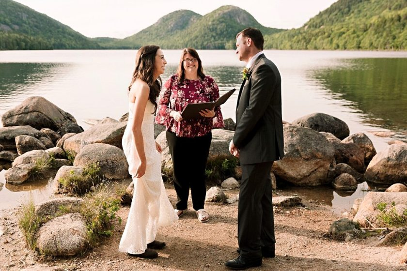 A couple marries at Jordan Pond in Acadia National Park.