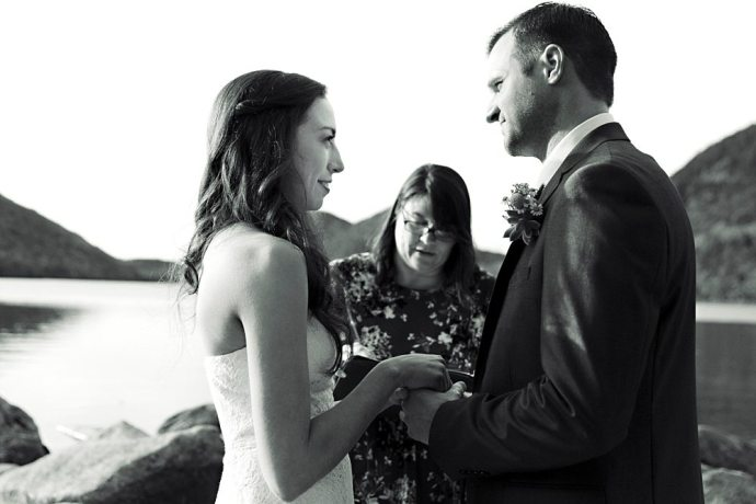Wedding ceremony at Jordan Pond.