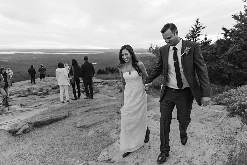 Bride and groom leaving Cadillac Mountain together on their wedding day.
