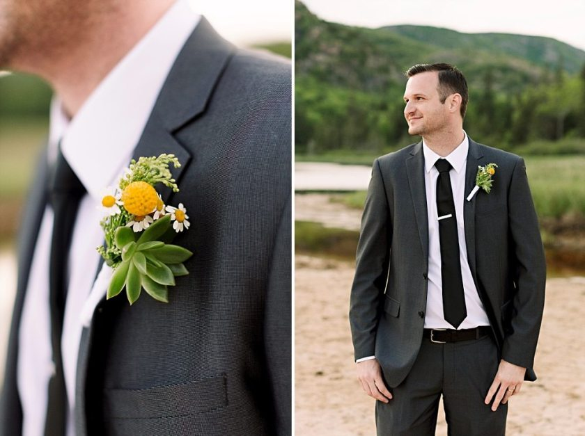 Groom and his boutonniere at Sand Beach in Acadia National Park.