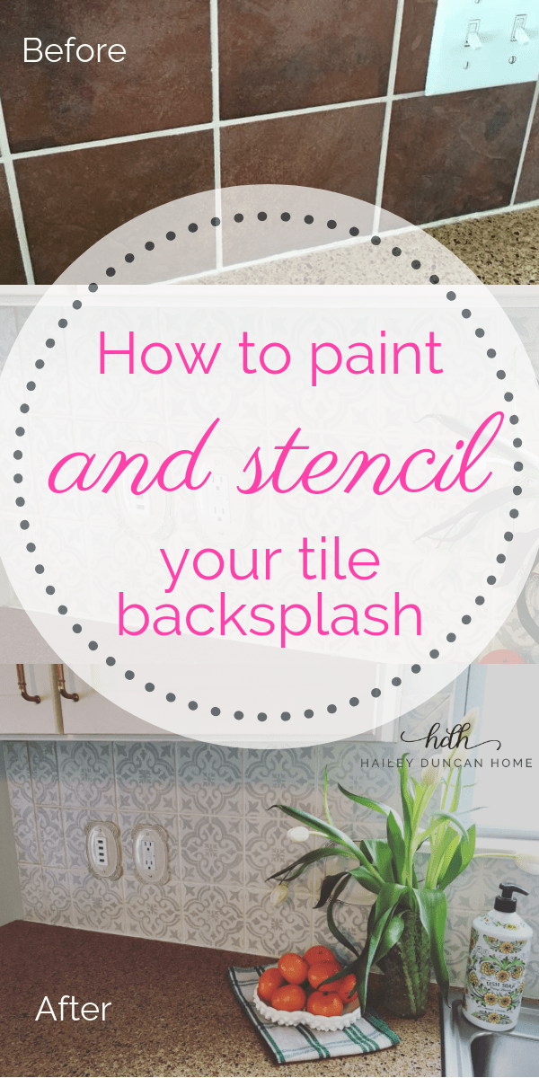how to paint and stencil a tile backsplash