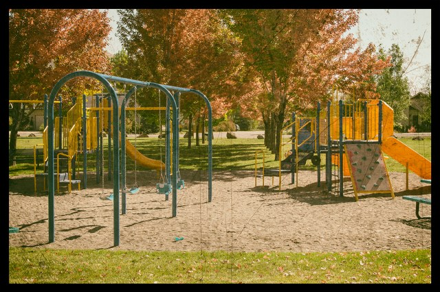 Vintage picture of the Deerfield Park playground equipment installed in 2014