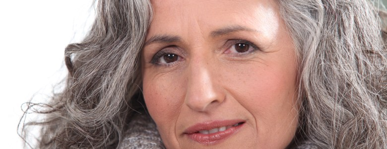 Portrait of a woman with thick grey hair