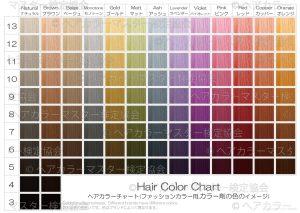 ヘアカラーチャート_ファッションカラー_カラー剤の色のイメージ