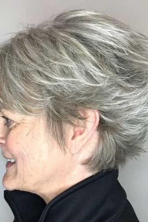Layered-Short-Haircut Stylish Older Women with Short Haircuts