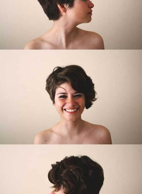 Pixie-Cut Simple Bridal Hairstyles For Curly Hair