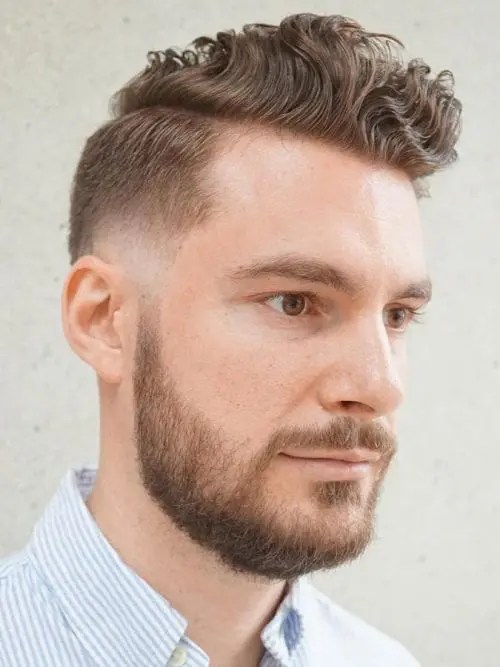 hairstyle for big forehead male, Curly Pomp