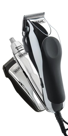 Wahl Chrome Pro Deluxe Mains Hair Clipper, Trimmer & Nasal Trimmer Set Chrome
