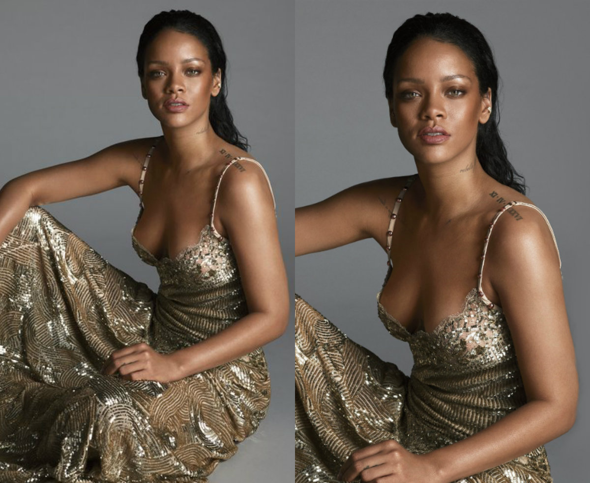 Rihanna wet slicked back hairstyles