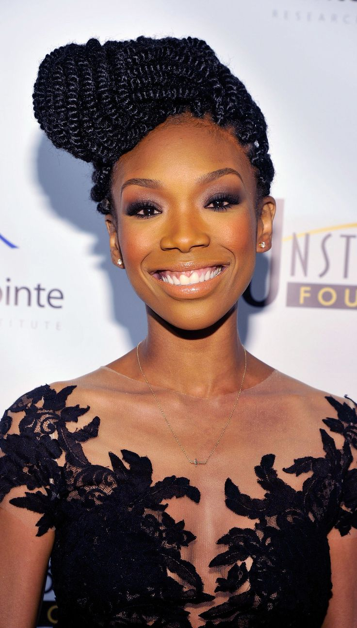 Brandy Norwood braided updo hairstyle