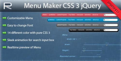 Menu maker CSS3 jQuery