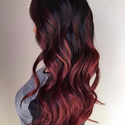 Highlights for dark red brown hair the best hair 2017 black hair with dark red highlights hairstyle fo women man pmusecretfo Image collections