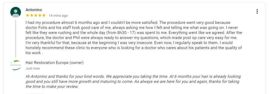 Google review FUE patient testimonial