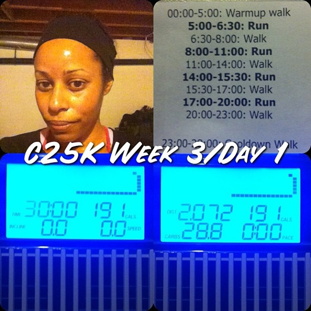 Day 22: C25K - Three run intervals at 5.5, and did the second 1.5 min interval at 6.0.