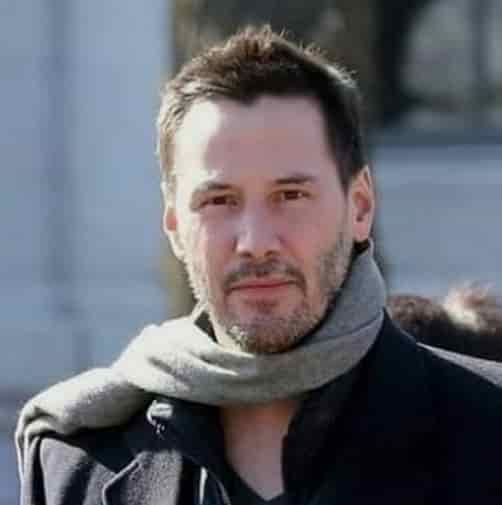 KEANU REEVES TEXTURED HAIRCUT WITH GRAY BEARD