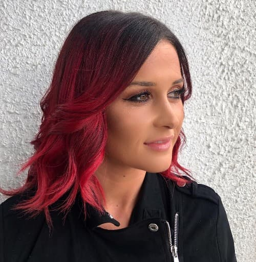 BLACK TO RED  SHOULDER LENGTH CURL HAIRCUT