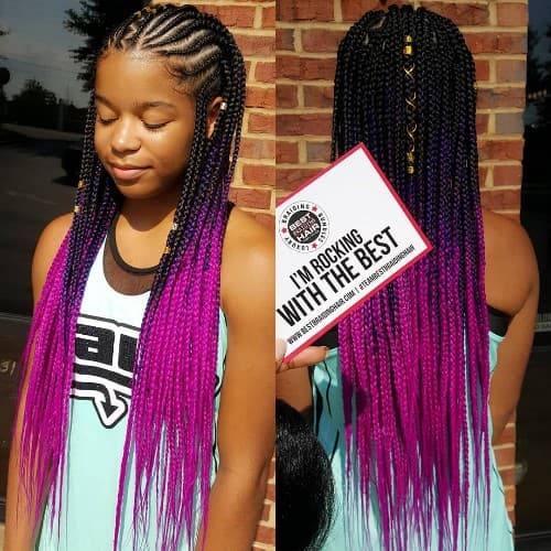PURPLE CORNROWS BRAID