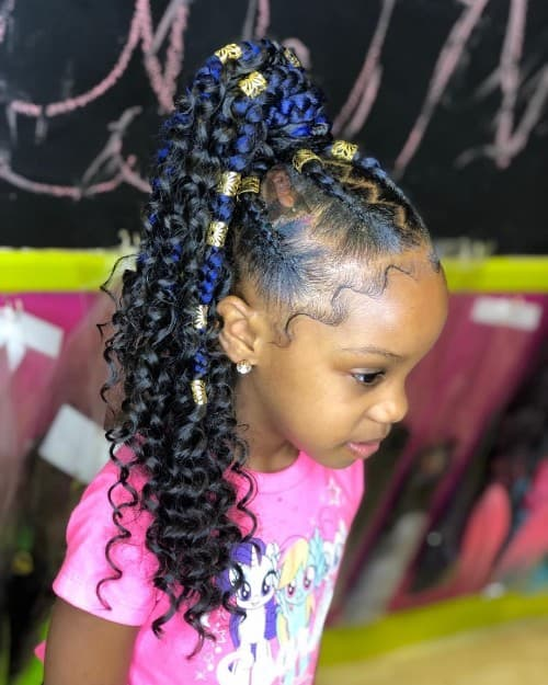 BLACK WITH BLUE FEED-IN BRAID FOR CURLY KIDS