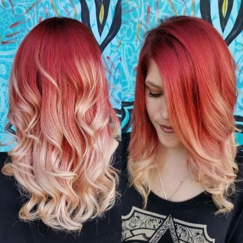 RED TO MILKY OMBRE