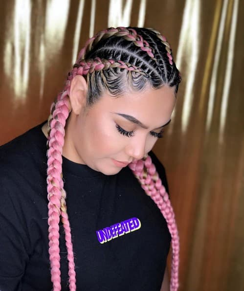 LIGHT PINK AND WALL BROWN FEED-IN BRAID STYLE