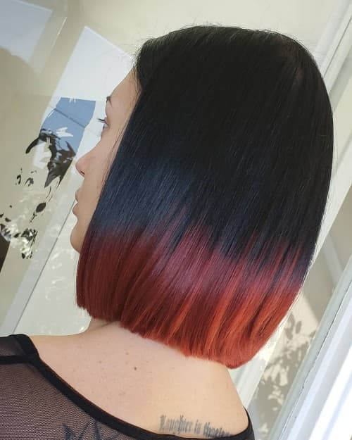 STYLING BLACK TO RED HAIR COLOR FOR SHOULDER LENGTH HAIRCUT
